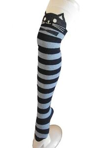 Black and Grey Ladies Striped over knee sock with a Cute Cat Face and a Nude top