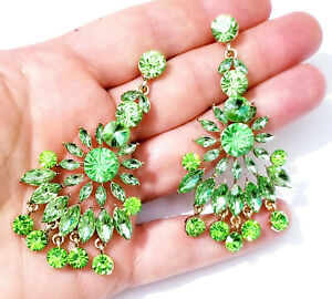 Chandelier-Earrings-Rhinestone-Austrian-Crystal-3-in-Green