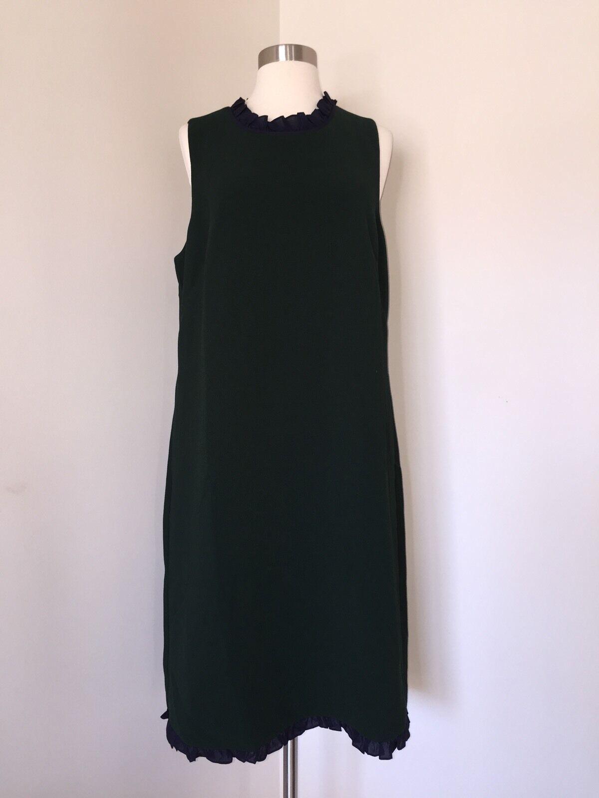 JCrew Tall Ruffle Trim Shift Dress Dark Forest Green Green Green 16T NWT G0321  128 NEW c7e223
