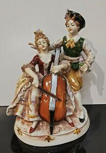 9924014-ds Porzellan Figur Rokoko-Paar mit Cello handbemalt Wagner&Apel H21cm