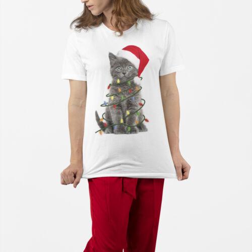 Femme Chat de Noël lumière T Shirt cadeau pour son Stocking Filler idées
