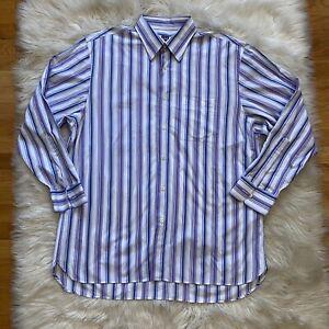 Ike-Behar-Mens-Button-Up-Down-Shirt-Stripes-Size-XL-Long-Sleeve-Point-Collar