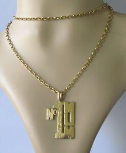 """9ct Collar De Oro-Vintage 9ct Oro Amarillo """"No.1 mamá Colgante & Cadena de oro"""