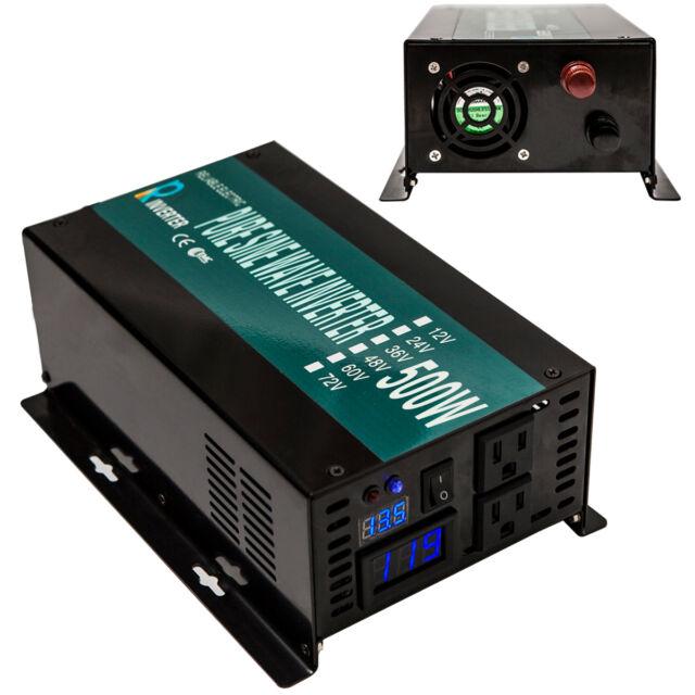 500W Solar Power Inverter 1000W Peak Pure Sine Wave 12//24//36//48V to 110//220V