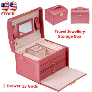 Details About Pink Portable Travel Jewelry Box Organizer Jewellery Case Earring Rings Storage