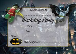 BATMAN-AND-ROBIN-Pack-of-10-THANK-YOU-CARDS-Kids-Children-birthday