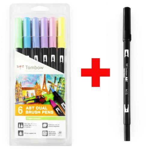 Negro pastel 0.3-10mm Cepillo de doble 7x Tombow ABT Marcador Pluma-Cepillo//Fina Nuevo En Caja