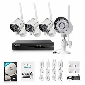Funlux 4CH NVR 1280 720p WiFi Outdoor Camera Home Security Camera System 500GB
