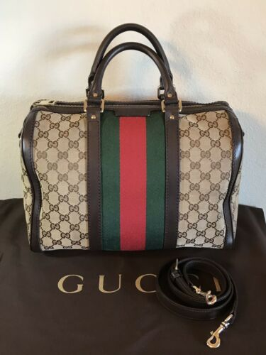 Gucci Large GG Monogram Boston Web Stripe Handbag… - image 1