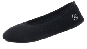 Totes Isotoner Black Velour All-Around Memory Foam Ballerina Slippers -