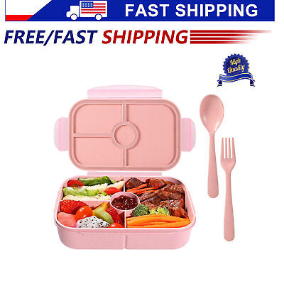 Aohea Kids Bento Box for Lunch or Snack Microwavable Buckle Lock /& Sealed Pink