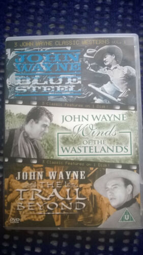 1 of 1 - 3 John Wayne Westerns Blue Steel Trail Beyond Winds of Wastelands Disc Perfect