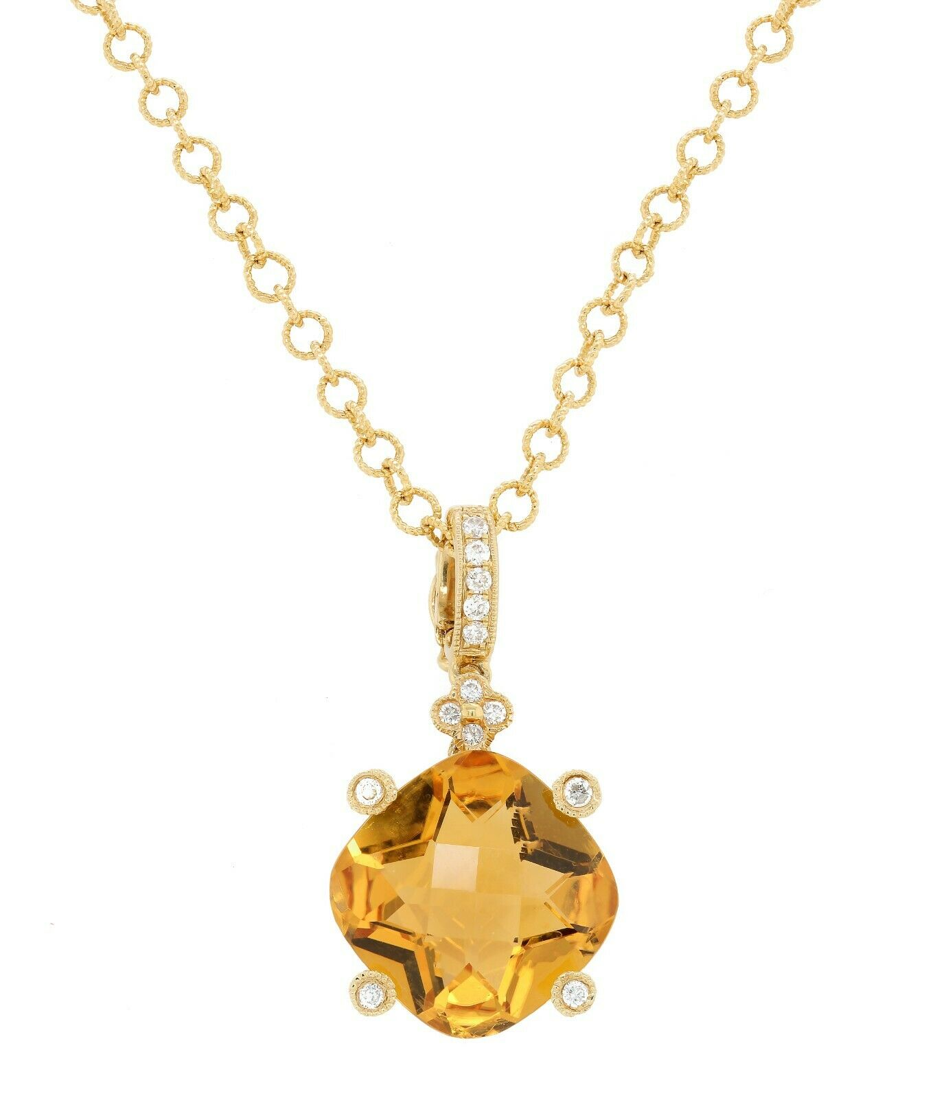 14 Karat Yellow Gold Round Pendant Natural Citrine