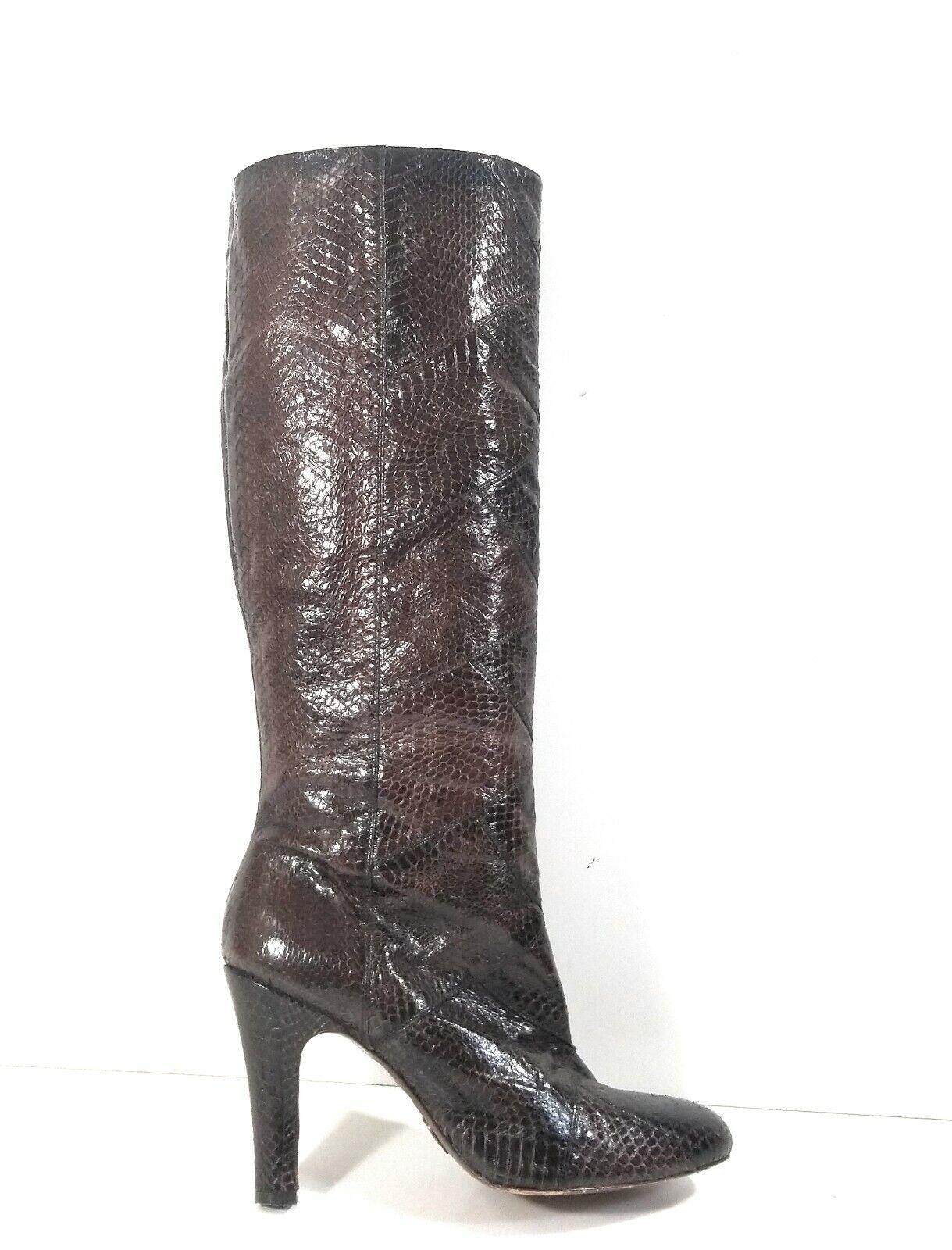 Frye 77731 Ava Tall Women Brown Tall Knee High Snakeskin Leather Boots Sz 8.5 M