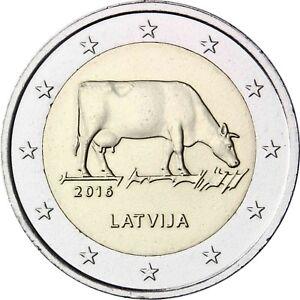 Lettland-2-Euro-Gedenkmuenze-2016-bfr-Milchwirtschaft-Muenze-Lettische-Braune-Kuh