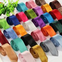 Solid Color Plain Satin Men's Tie Necktie Skinny Classic Necktie Wedding-Party 2