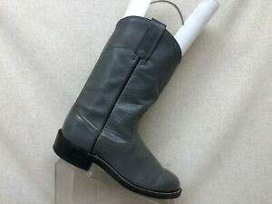 Gray-Leather-Pull-On-Roper-Cowboy-Western-Boots-Youth-Size-5-D