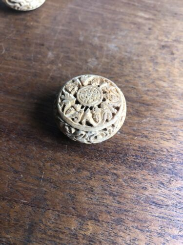 1 Old Stock Vintage Flower Round Hand Carved Wood//nut Large Double Sided Bead