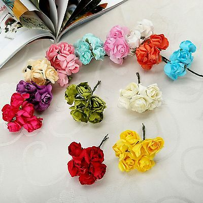 12/144pcs Mini Paper Handmade Artificial Flowers For Wedding Box Card Decor DIY