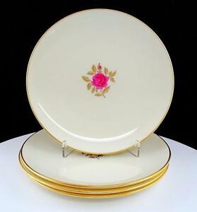 LENOX-USA-4-PIECE-ROSELYN-X-304-PINK-ROSE-AND-GOLD-7-3-4-034-SALAD-PLATES-1952-80