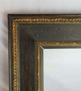 """Vintage Fits 8""""x10"""" Dark Oak Gold Gilt Ornate Victorian Country Primitive Frame"""