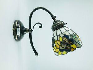 Applique da parete in ottone anticato con vetro tiffany girasoli