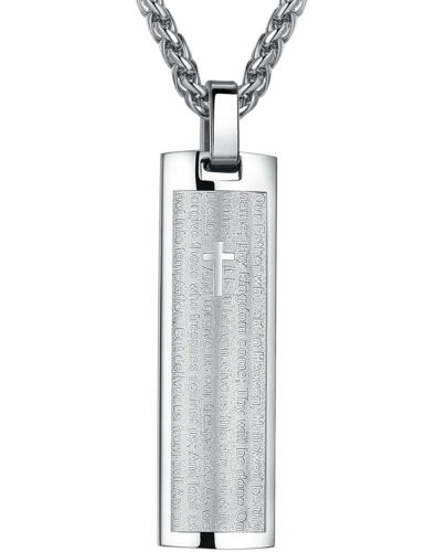 Men/'s Stainless Steel Bible Our Father Lord/'s Prayer and Cross Pendant Necklace
