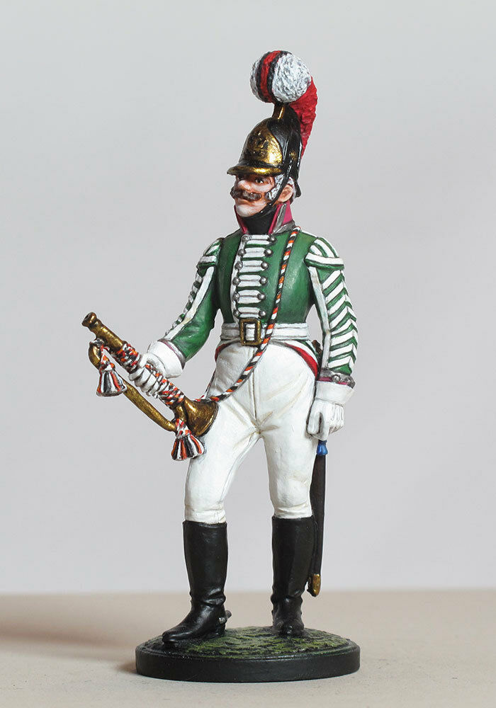 Tin 54mm Headquarters trumpeter of the Moscow Dragoon Regiment. Russia, 1803-06