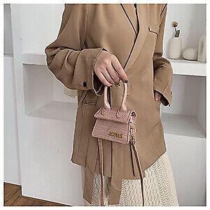 Small Women Handbag Square CUTE Crocodile Pattern Crossbody Shoulder Bag