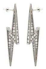Zest Swarovski Crystal Lightening Bolt Earrings for Pierced Ears Clear & Silver