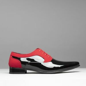 c4418ada156 Details about Mister Carlo TORINO Mens Formal Funky Pointed Suede/Patent  Dress Shoes Black/Red