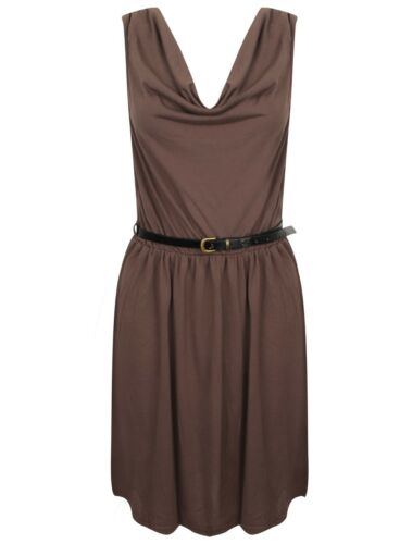 Ladies Belted Dress Black Camel Mocha Fashion New 50/% Cotton Casual