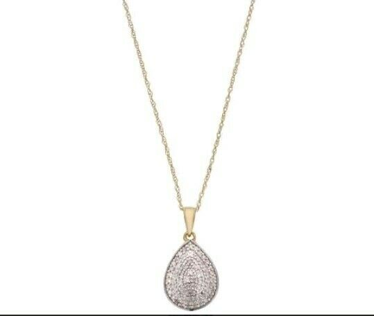 9CT gold 0.25CT TW DIAMOND DROP PENDANT RRP