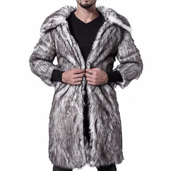 Laufsteg Herren Pelz Dicker Knielange Mäntel Revers Leopard Winter Jacken Warm