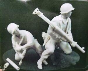 1-35-Resin-Figure-Model-Kit-US-Soldiers-WWII-WW2-Firing-Unpainted-Unassambled