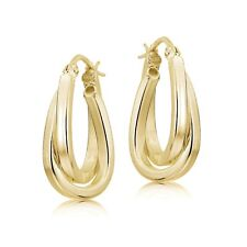 Gold Flash Silver Square-Tube Twisted 15mm Double Square Hoop Earrings
