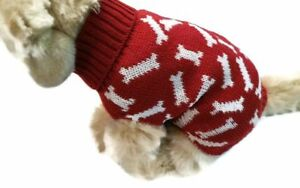 Small-dog-bone-Knit-Cherry-Red-sweater-pet-clothes-winter-apparel-puppy