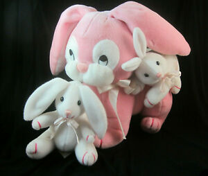 """DanDee Soft Expressions 10"""" Plush Pink Mother Rabbit with Baby Bunnies"""