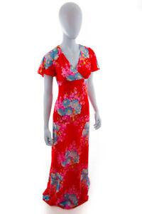 Vintage Orig 60er 70er Boho Hippie Maxikleid Kleid Lang Rot Bunt Blumen 36 Ebay