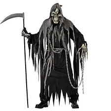 5f04f6ec2 Adult Men's Mr. Grim Reaper Death Skull Skeleton Halloween Costume Black  Robe