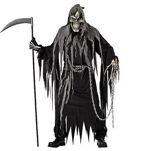 Adult-Men-039-s-Mr-Grim-Reaper-Death-Skull-Skeleton-Halloween-Costume-Black-Robe