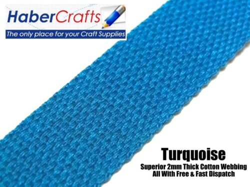 Turquoise 38mm Cotton Webbing Tape Belting Fabric Strap Bag Making Strapping