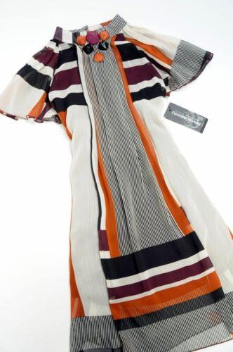 Rinascimento M Striped Chiffon Dress Stunning Italy Frill 10 r0qxOrwn