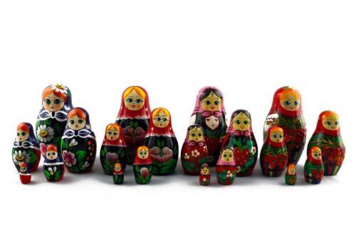 Lot 4 Matryoshka Russian Nesting Doll Wooden Puppe Poupee Babushka Craft 5 pcs