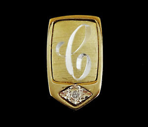 Pierre-Cardin-Tie-Tack-Pin-with-Engraved-Letter-C-Initial-with-Genuine-Diamond