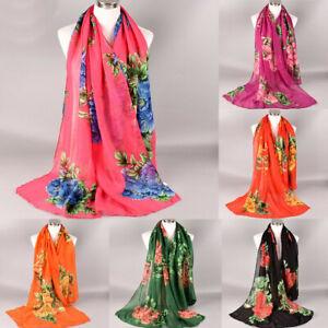 Fashion Women Floral Print Winter Shawl Wrap Neck Scarf Scarves Beach Headband A