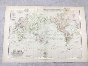 1882-Antik-Weltkarte-auf-Mercator-039-s-Projektion-Ozean-Stroemungen-19th-Jahrhundert