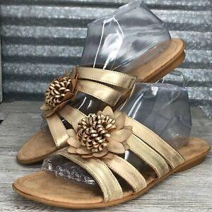 St-John-Bay-Uriel-Women-039-s-Vegan-Leather-Gold-Comfort-Sandals-Slide-Metallic-Sz10