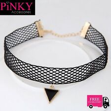 Choker Net Lace Necklace Black Fashion Wide Cord Collar Charm Quality Rare UK