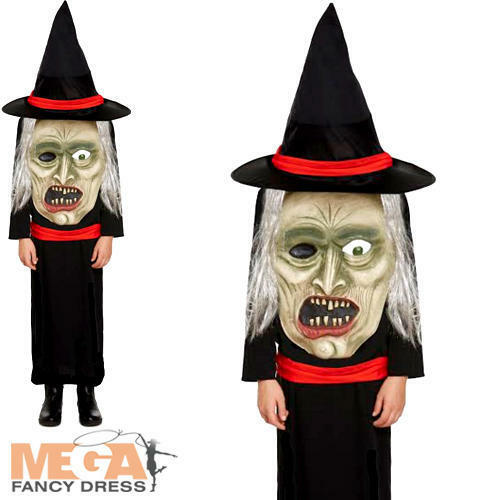 Witch with Giant Face Kids Halloween Fancy Dress Childrens Girls Childs Costume